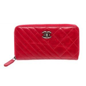 Chanel Red Quilted Leather Coco Zip-Around Wallet